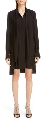 Chloé Scalloped Bib High/Low Scarf Shirtdress