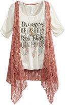 Beautees 3-Pc. T-Shirt, Vest & Necklace Set, Big Girls (7-16)