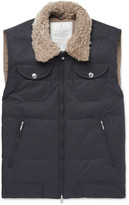 Brunello Cucinelli - Shearling-trimmed Quilted Cotton-blend Gilet