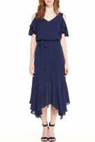 Maggy London Navy Cold Shoulder Dress