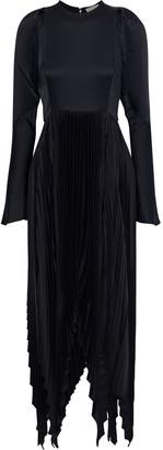 KHAITE Greta Asymmetric Cutout Pleated Satin-crepe Maxi Dress