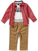 Nautica Baby Boys 12-24 Months Long-Sleeve Woven Shirt, Chest-Stripe Tee & Pant Set