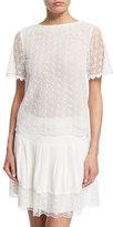 Diane von Furstenberg Brylee Scalloped Textured Top, White