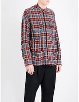 Haider Ackermann Checked regular-fit brushed cotton-blend shirt