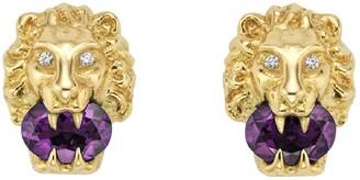 Gucci Lion Head Diamond & Stone Stud Earrings