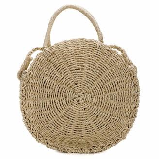 Milky Way Women's Round Rattan Hand Woven Beach Bag Bamboo Crochet Shoulder Summer Bag Women's Straw Beach Bag (Beige)