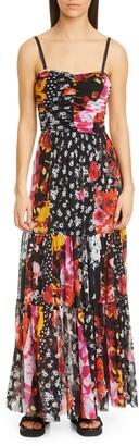 Fuzzi Floral & Dot Ruched Sleeveless Maxi Dress