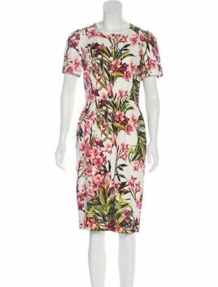 Dolce & Gabbana Oleander Print Midi Dress White