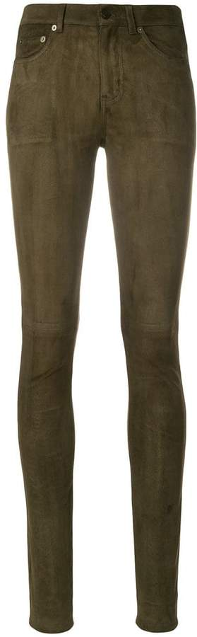 skinny suede trousers - Green Saint Laurent W6oqDgR07