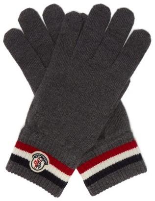 Moncler Stripe Jacquard Wool Gloves - Mens - Grey