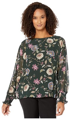 Vince Camuto Batwing Floral Chiffon Overlay Blouse (Dark Willow) Women's Clothing