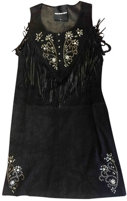 American Retro Black Suede Dress for Women