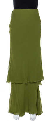 Alberta Ferretti Green Silk Crepe Tiered Skirt M