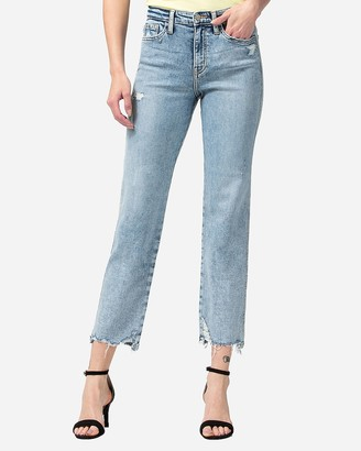 Express Flying Monkey High Waisted Distressed Cropped Straight Jeans