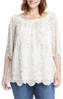 Karen Kane Plus Size Women's Embroidered Mesh Off The Shoulder Top