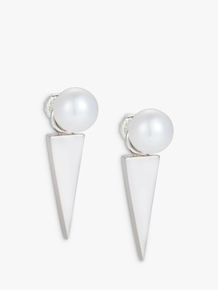 Claudia Bradby Freshwater Pearl Geometric Blade Drop Earrings, Silver/White