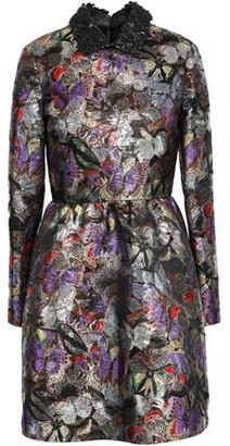 Valentino Leather-trimmed Metallic Jacquard Mini Dress