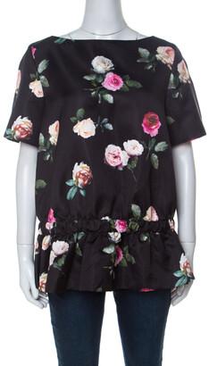 N°21 N21 Black Floral Printed Silk Short Sleeve Peplum Top M