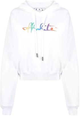 Off-White Rainbow Offwhite Crop Hoodie