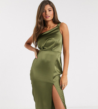 Flounce London satin drape one shoulder dress in olive