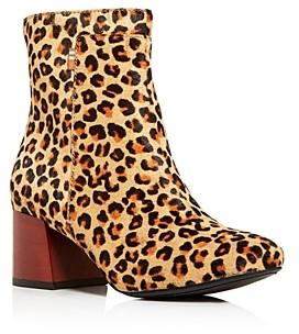 Toms Women's Emmy Leopard-Print Calf Hair Block-Heel Booties