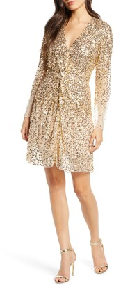 French Connection Emille Sparkle Long Sleeve Sequin Sheath Dress