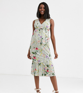 ASOS DESIGN Maternity floral belted pleated midi dress