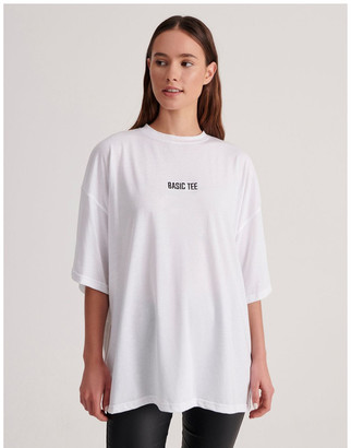 Missguided Basic Embroidery Drop Shoulder Oversized T-shirt