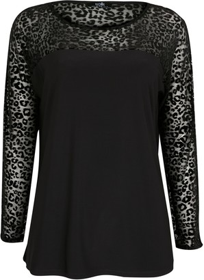 Wallis Black Animal Print Mesh Top
