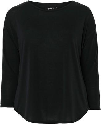 Evans Black Curve Hem Long Sleeve Top