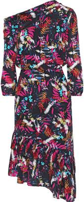 Saloni Lexie Asymmetric Printed Silk Crepe De Chine Dress