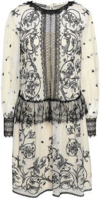 Alberta Ferretti Embroidered Cotton-blend Tulle Mini Dress