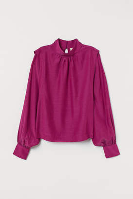 H&M Blouse with Stand-up Collar - Pink