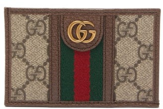 Gucci Ophidia Gg Plaque Leather Cardholder - Beige