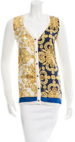Tibi Printed Knit & Silk-Blend Cardigan