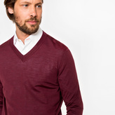 Paul Smith Men's Damson Merino Wool V-Neck Sweater