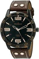 Peugeot Men's 'Big Black Face Aviator Sports' Quartz Brown Leather Aviator Watch (Model: 2049BBR)