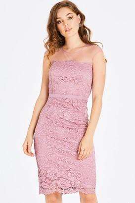 Little Mistress Alanis Blush Lace Pencil Dress