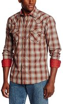 Wrangler Men's 20X Collection Snap Red Tan Brown Shirt