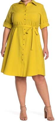 Sharagano Roll Sleeve Tie Waist Shirt Dress