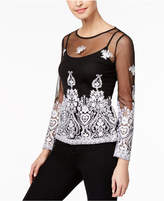 INC International Concepts I.n.c. Petite Embroidered Illusion Top, Created for Macy's