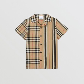 Burberry Short-sleeve Vintage Check and Icon Stripe Shirt