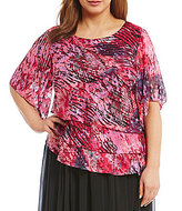 Alex Evenings Plus Printed Multi-Tiered Blouse