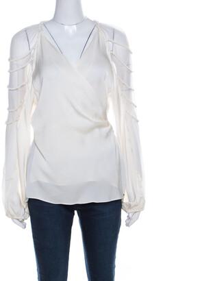 Elie Tahari Cream Silk Rope Sleeve Detail Carmela Wrap Blouse L