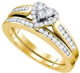 Jawa Fashion 14kt Yellow Gold Womens Diamond Heart Love Bridal Wedding Engagement Ring Band Set 1/2 Cttw
