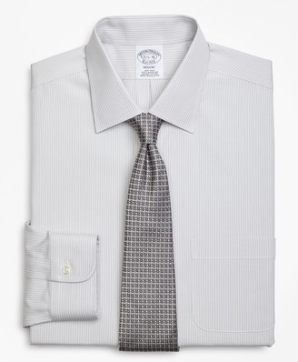 Brooks Brothers Regent Fitted Dress Shirt, Non-Iron Tonal Framed Stripe