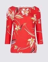 Marks and Spencer Floral Print Slash Neck Long Sleeve Top