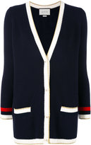 Gucci Embroidered oversize knit cardigan - women - Cotton/Polyamide/Spandex/Elastane - M