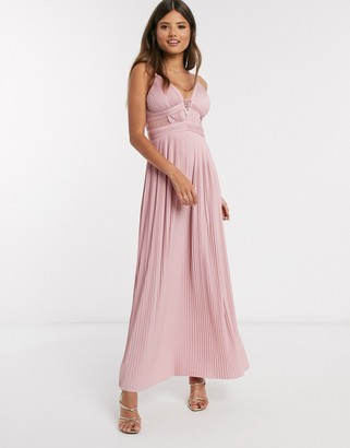 Asos DESIGN premium pleat cup detail lace insert cami maxi dress in soft pink