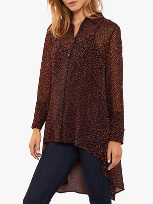 Mint Velvet Flossy Print Dipped Hem Shirt, Black/Red